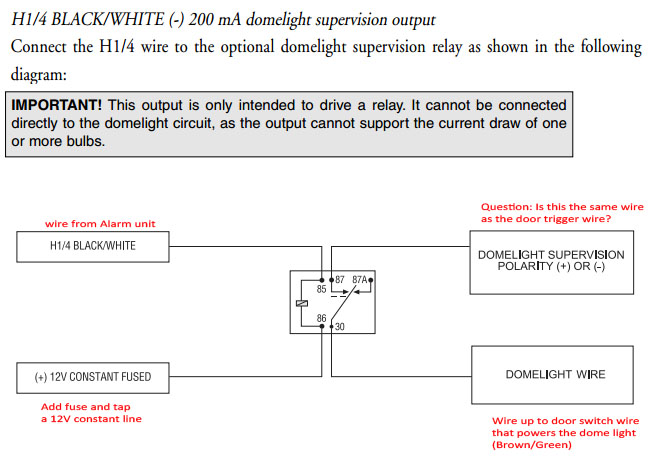 Dome Light Supervision And Trunk Actuator: Relay Wiring ... on viper keyless entry wiring diagram, viper mini 50 wiring diagram, viper remote start diagram,