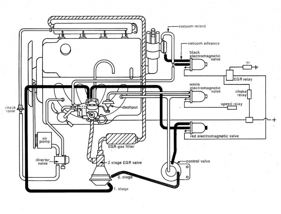 74' 2002A VACUUM DIAGRAM w/ WEBER water-cooled Carb needed
