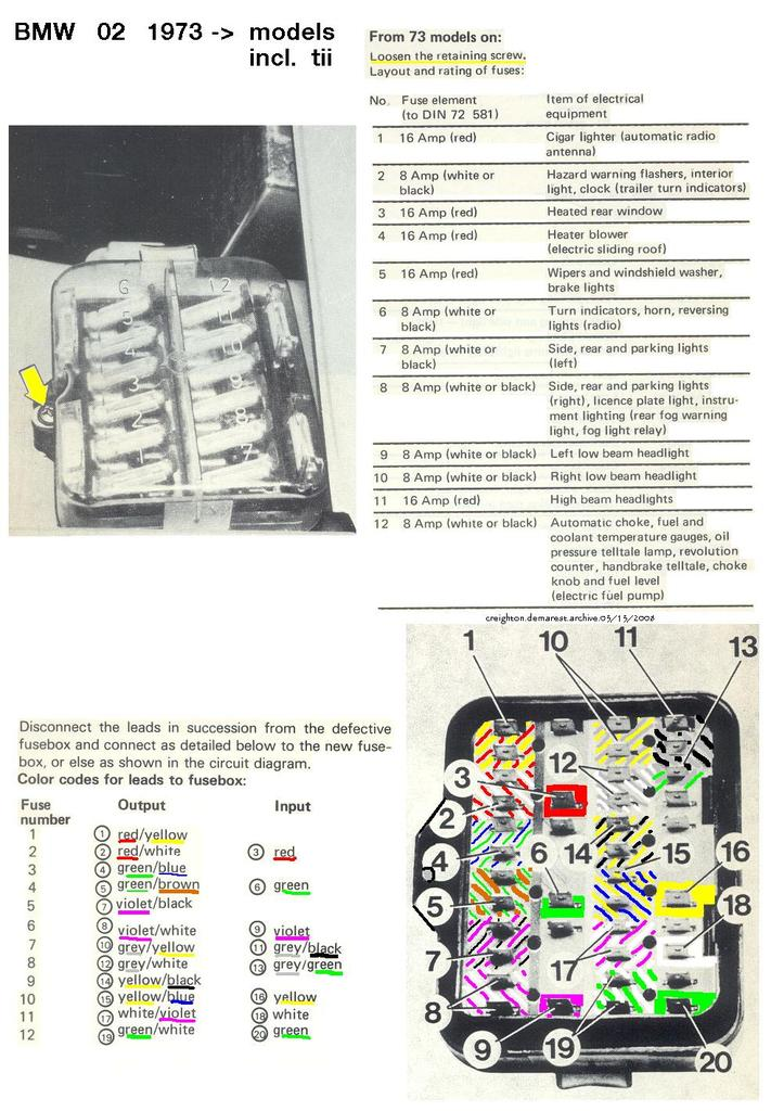 Fuse Box  Wiring - Bmw 2002 And Other  U0026 39 02